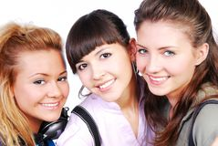 Three beautiful female teenagers Royalty Free Stock Images