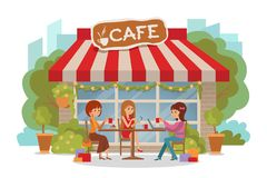 Three beautiful women talking at coffee shop outdoor while drinking and using phone laptop. Vector illustration isolated. Three beautiful friends women with stock illustration
