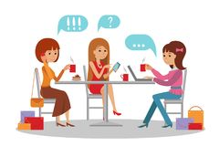 Three beautiful women talking at coffee shop while drinking. Three beautiful friends women with shopping packages talking friendly at coffee shop while Royalty Free Stock Photo