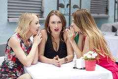 Three beautiful girlfriends gossiping woman sitting at a table i Royalty Free Stock Image