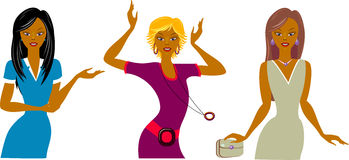 Three beautiful girls. Business lady, dancer and diva, Vector illustration. EPS 8 Stock Photo