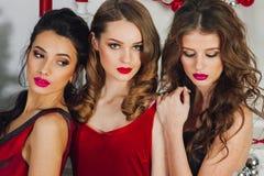 Three beautiful girls stock photo