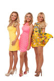 Three beautiful girls in fashion dresses Royalty Free Stock Photography