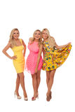 Three beautiful girls in fashion dresses Stock Photos