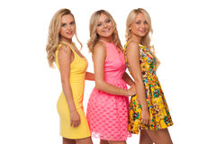 Three beautiful girls in fashion dresses Royalty Free Stock Image
