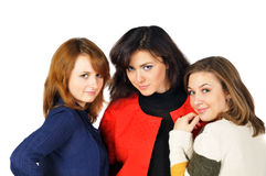 Three beautiful girls with pretty eyes Stock Photography