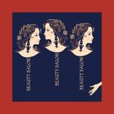 Three beautiful girls in profile. Creative design template for beauty salon Stock Photo