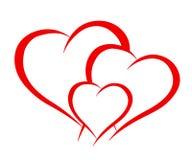 Three beautiful hearts - vector illustration