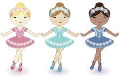 Three beautiful lovely girls of ballerinas. Three girls ballerina on a white background Royalty Free Stock Photography