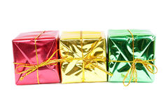 Three beautiful new year boxes Royalty Free Stock Photo