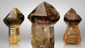 Three beautiful pieces of smoky quartz scepter. Stock Photography