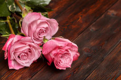 Three beautiful pink roses on wooden table, romantic background Stock Photography