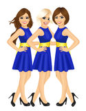 Three beautiful professional fair hostess women standing with blue uniform royalty free illustration