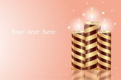 Beautiful burning candles with reflection isolated on a gentle background, light, place for text royalty free illustration
