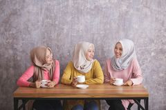 Three beautiful siblings having a coffee time together. Portrait of three beautiful siblings having a coffee time together at coffee shop with copy space Royalty Free Stock Images