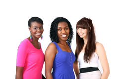 Three beautiful smiling women Stock Photos