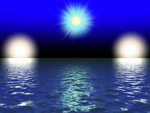 Three beautiful sun. Near the blue sea Royalty Free Stock Photo