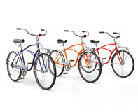 Three Beautiful Vintage Bicycles. Isolated on white background Stock Photos