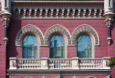 Three beautiful vintage window in historic building Royalty Free Stock Image