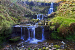 Three beautiful Waterfalls, Nant Bwrefwy, Upper Blaen-y-Glyn Stock Image