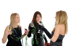 Three beautiful woman friends celebrating on party Stock Photos