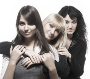 Three beautiful woman friends posing. Three beautiful women friends posing Royalty Free Stock Image