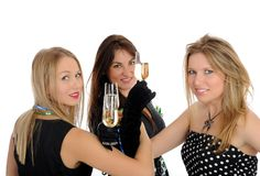 Three beautiful woman with glasses of champagne Stock Photo