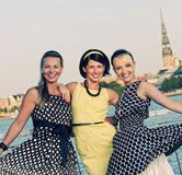 Three beautiful woman outdoors stock photos