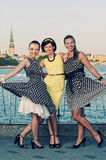 Three beautiful woman outdoors Royalty Free Stock Photography