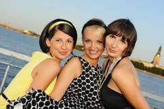 Three beautiful woman outdoors royalty free stock photo