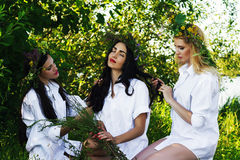 Three beautiful woman relaxing Royalty Free Stock Photography