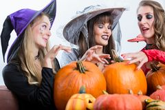 Three beautiful women acting as witches joining their malicious Stock Photos