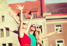 Three beautiful women in the city Royalty Free Stock Images