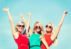Three beautiful women outdoors Stock Image