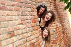 Three beautiful women screaming outdoor Royalty Free Stock Photo