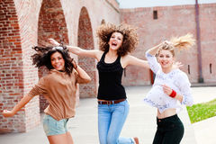 Three beautiful women smiling Stock Images