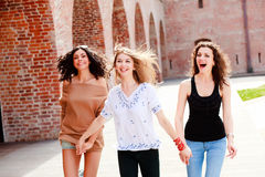 Three beautiful women smiling Royalty Free Stock Photos