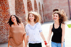 Three beautiful women smiling Stock Photo