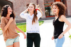 Three beautiful women smiling Royalty Free Stock Photo