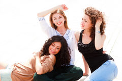 Three beautiful women smiling Royalty Free Stock Images