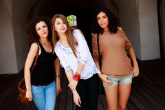 Three beautiful women smiling outdoor Stock Photography