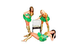 Three  beautiful women with the suitcase of money Stock Photos