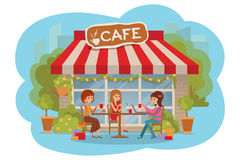 Three beautiful women talking at coffee shop outdoor while drinking and using phone laptop. Three beautiful friends women talking friendly at coffee shop while stock illustration