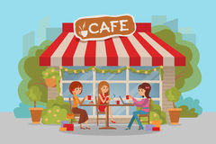 Three beautiful women talking at coffee shop outdoor while drinking and using phone laptop. Vector illustration. Three beautiful friends women with shopping Stock Photo