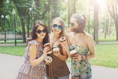 Three beautiful young boho chic stylish girls walking in park. Royalty Free Stock Photo