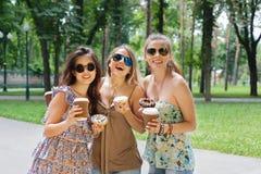 Three beautiful young boho chic stylish girls walking in park. Royalty Free Stock Photography