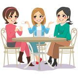 Friends Cafe Street. Three beautiful young women friends having coffee sitting at cafe table in street royalty free illustration