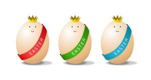 Miss eggs. Three beauty eggs, cartoon illustration Royalty Free Stock Images