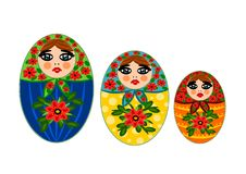 Three beauty wooden dolls Royalty Free Stock Images