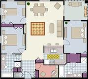 Three-bedroom floor plan Stock Photo